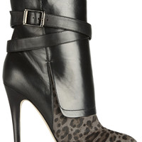 Jimmy Choo|Leopard-print calf hair and nappa leather ankle boots|NET-A-PORTER.COM