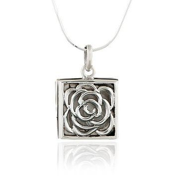 925 Oxidized Sterling Silver Rose Square Locket Pendant Necklace, 18 inch Snake Chain