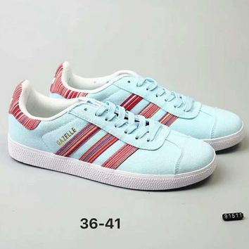 Adidas Gazelle Women Fashion Trending Pink Running Sports Shoes light blue G-A-YYMY-XY