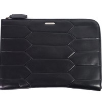 Roberto Cavalli Black Leather Large Zip Around Laptop Bag