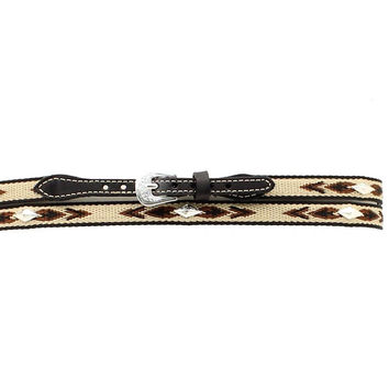 M&F Western Woven Aztec Concho Black Leather Hat Band