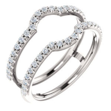 14K White 3/8 CTW Diamond Ring Guard to Fit 1 1/4 CT to 3 CT Center Stone