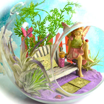 "Fairy Garden Terrarium Kit with Bench ~ Air Plant Terrarium ~ Ladybug and Butterfly ~ 7"" Globe ~ Picket Fence~ Sand Choice ~ Gift Idea"