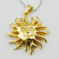 Fashion Stainless Steel Greek Key Smile Young Dad Sun Pendant Necklace  Gold & Silver to choose WP1428