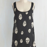 Urban Mid-length Sleeveless Skull-lastic Looks Top
