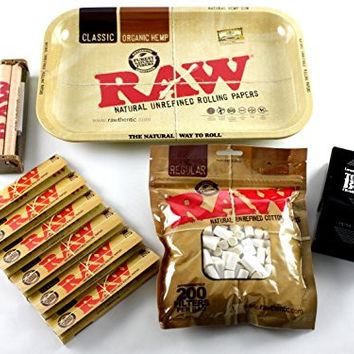 RAW Rolling Tray + 110mm RAW Roller + RAW King Size Rolling Papers + RAW Filter Tips + Laramie Cigarette Case Bundle / Kit