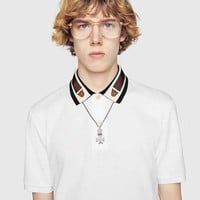 GUCCI 2019 new men's polo shirt neckline embroidery round neck T-shirt top White