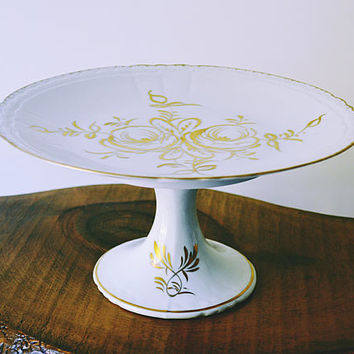 Vintage White And Gold Cake Stand, BB France Pastry Stand, Floral Design Footed Plate, Wedding Cake Stand