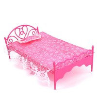 Children Toys Dollhouse Plastic Bed With Lace Bed Sheet and Pillow Furniture for Barbie Dolls House Furniture Xmas Gift