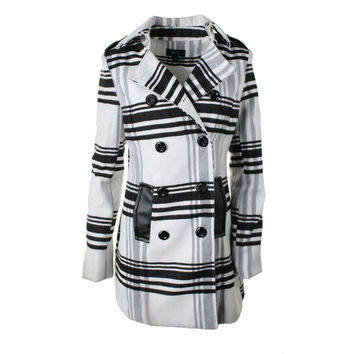 BCX Womens Plaid Long Sleeves Pea Coat