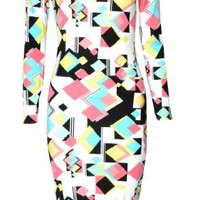 Womens Long Sleeved Geometric Retro Square Print Midi Dress (Mtc) (4/6 (uk 8/10), black/white/yellow)