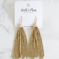 Beaded Tassel Earrings, Gold