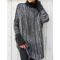 Fashion Long-Sleeved Knitted High-Neck Sweater Top
