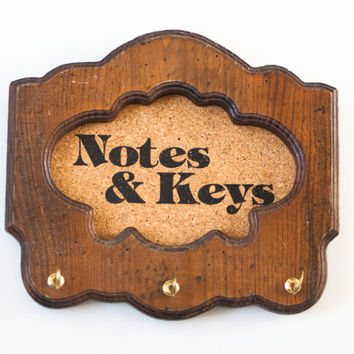 "Vintage Typography ""Notes and Keys"" Cork Board Key Holder, Solid Wood Organizer Wall Hanging, Rustic Entry Way Hook"