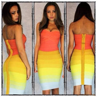 Bralette Comfortable Sexy Hot Gradient Wrap Ball Gown Bandages Dress Bra