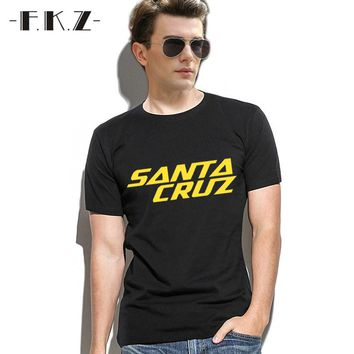 FKZ 2017 Summer T-shits Men Skateboard Skate Santa Cruz Printed T Shirt Men Shirts Camiseta Tee Clothing Men's Large Size Tops