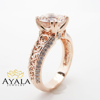 Unique Rose Gold Engagement Ring 14K Rose Gold Morganite Engagement Ring Art Deco Engagement Ring
