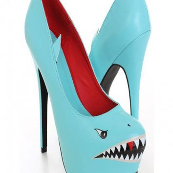 Mint Shark Face Print Pump Heels