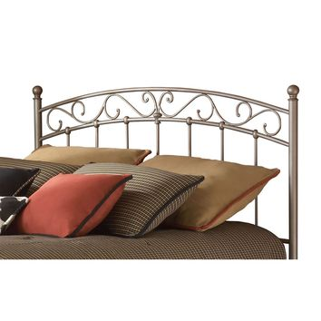 Twin size Arched Metal Headboard with Scroll Detail and Solid Castings