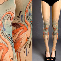 NEW nude one size Flamingo Love full length footless printed tights / pantyhose spring / summer