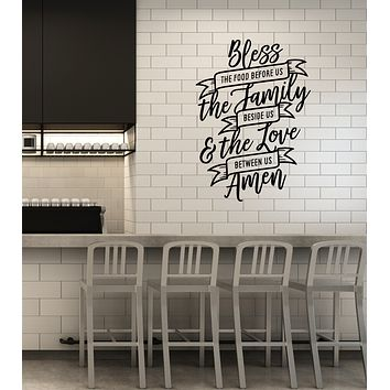 Vinyl Wall Decal Bless The Food Quote Kitchen Dining Room Interior Stickers Mural (ig5935)