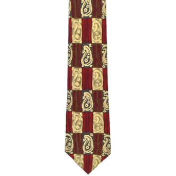 Alexander Julian Colours Collection Checkered Paisley Wide Silk Tie - Multicolor