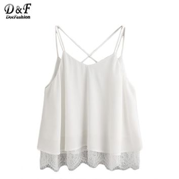 Summer Female Top Ladies Sexy Sleeveless White Lace Trim Crisscross Notch V Back Top Camisole