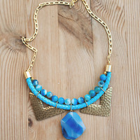 JeansLover Statement Light Blue Agate Necklace by Pardes
