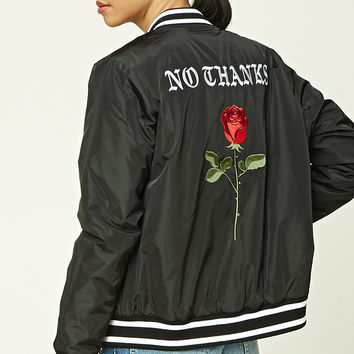 No Thanks Satin Bomber Jacket