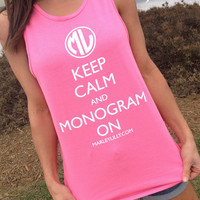 Marley Lilly Keep Calm Monogram On Promo Tank | Free Shipping | Marley Lilly