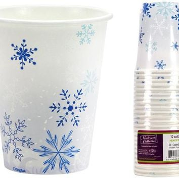 Blue Snowflakes - 12 oz. Hot/Cold Paper Cups - 12 Units
