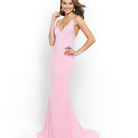 Blush Prom 9971 Carnation Pink Deep V-Neck Halter Dress