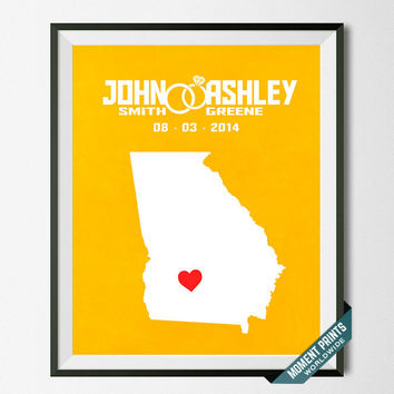 Customized, Print, Georgia, Wedding, Anniversary, Couple, Personalized, Gift, Map, Custom, Wall Art, Home Decor, Marriage, Love [NO 9]