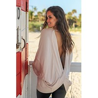 Taupe Oversized Top with Open Back