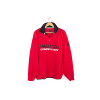 90s NAUTICA COMPETITION FLEECE sweatshirt / vintage 1990s / sweater / big logo / red + black - Large