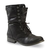 Women's Estie Mid-Calf Black Fold Over Combat Boot