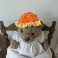 Hand Crocheted Orange Baby Hat With Yellow Ruffle