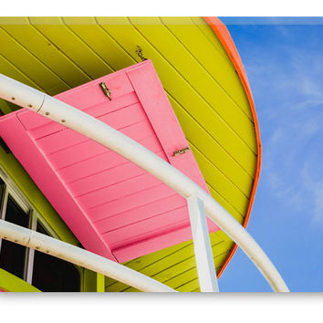 Miami Beach Florida Colorful Lifeguard Station Canvas Gallery Wrap