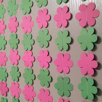 Pink and Green Flower Paper Garlands,  Streamers, Baby Shower Decoration, Birthday Party, Baby Nursery, Back Drop, Weddings