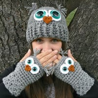 Adult Owl Hat with Aqua Safety Eyes and Crocheted with Gray Acrylic Yarn Woman's Regular OR Large