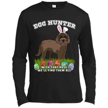 Easter Egg Hunting Dog T-Shirt Eggspert Labradoodle Long Sleeve Moisture Absorbing Shirt