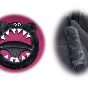 Fluffy Dark Grey Monster Car Steering wheel cover & fuzzy Dark Grey seatbelt pad set