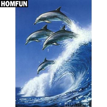 5D Diamond Painting Four Dolphins Jumping Kit