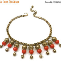 Etruscan Revival Dangle Bib Necklace, Orange Acrylic Beads, Gilt Damascened Beads, Gold Beads, Textured Gold Tone Chain