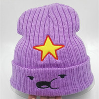 2015 new Winter Women Hat Warm Knitted beanies Five-pointed star Beanie fashion Hat Cap for women purple bonnet