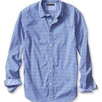 Banana Republic Mens Tailored Slim Fit Custom 078 Wash Micro Gingham Shirt