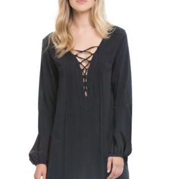Lace Up Bell-Sleeved Dress