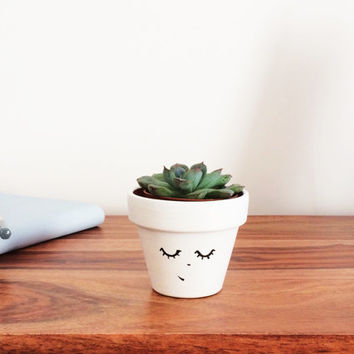 Planter - Succulent Mini Planter - Hygge Decor - Cactus Pot - Minimalist Indoor - Home Decor - Face Plant - Office Decor - Scandinavian