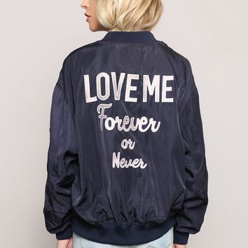 Forever Or Never Bomber Jacket at Gypsy Warrior
