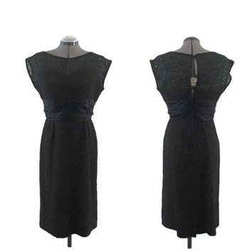 1960s Dress, Vintage Blanes of London Black Satin and Lace Cocktail Dress, Little Black Dress, Sz. M
